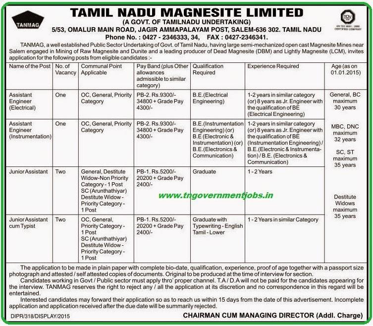 Tamil Nadu Magnesite Ltd (TANMAG) Recruitments (www.tngovernmentjobs.in)