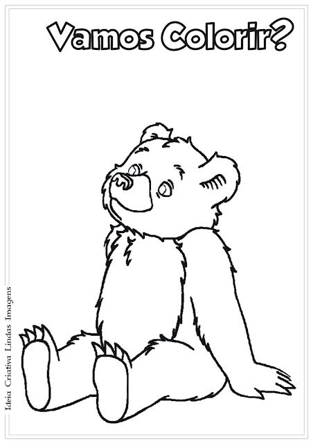 O Pequeno Urso desenho para colorir