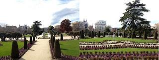 Parterre francés en el parque de el retiro en Madrid.