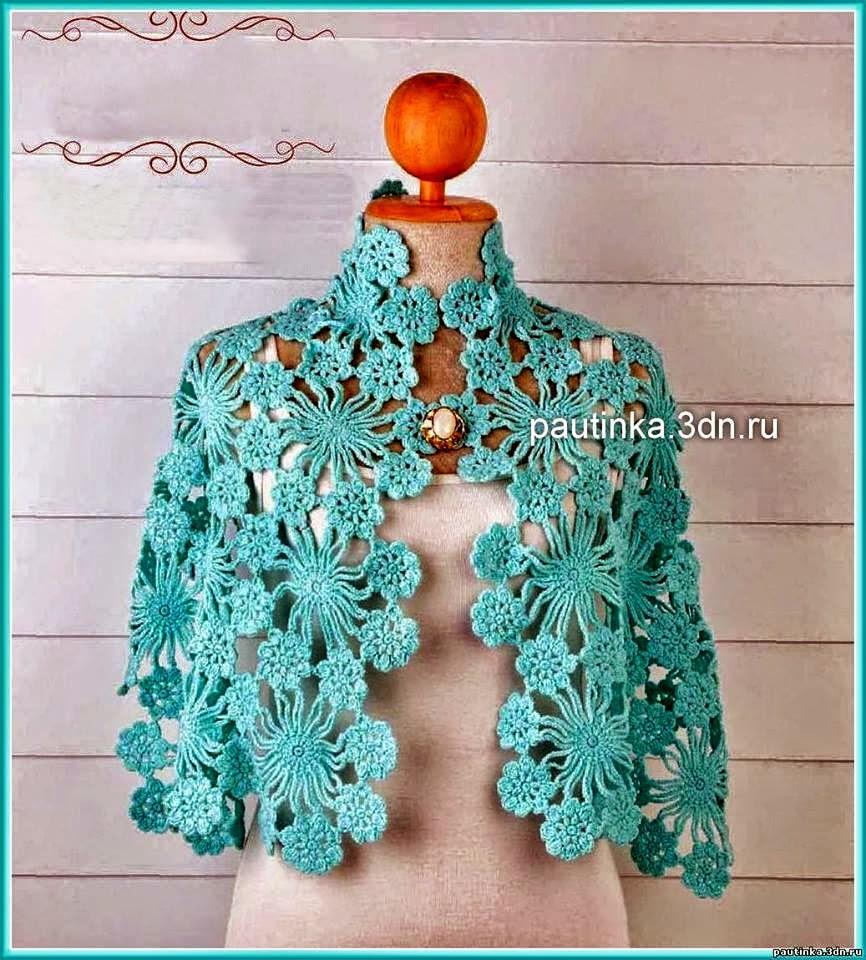 Capa al crochet con grannys florales con patrones