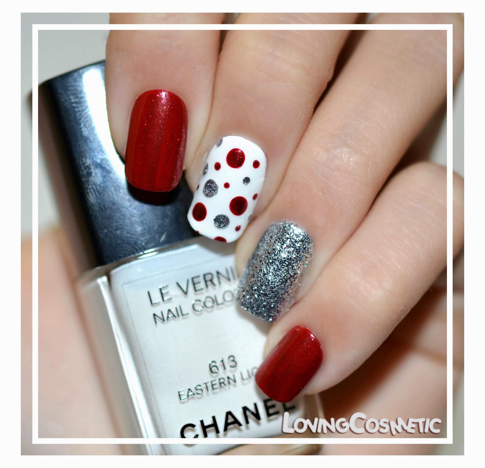 nail nails art uñas uña diseño vernis dior rouge 999 christmas dots lunares puntos