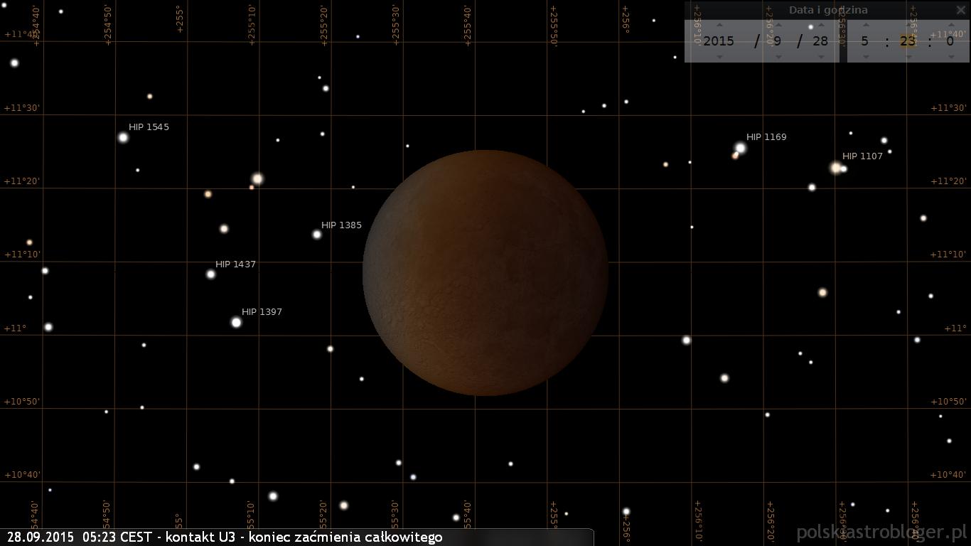 Kontakt U3 - koniec całkowitego zaćmienia Księżyca