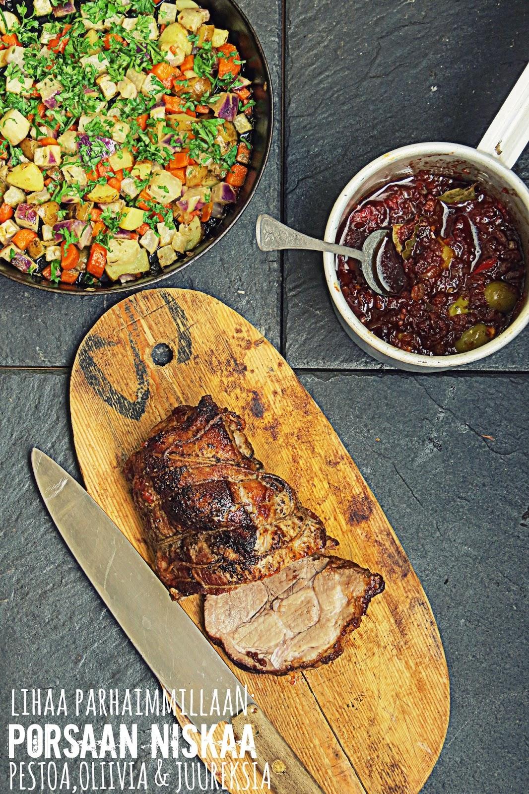 Lihaa parhaimmillaan: Luomu porsaan niskaa, peston, oliivien ja juurespannun kanssa