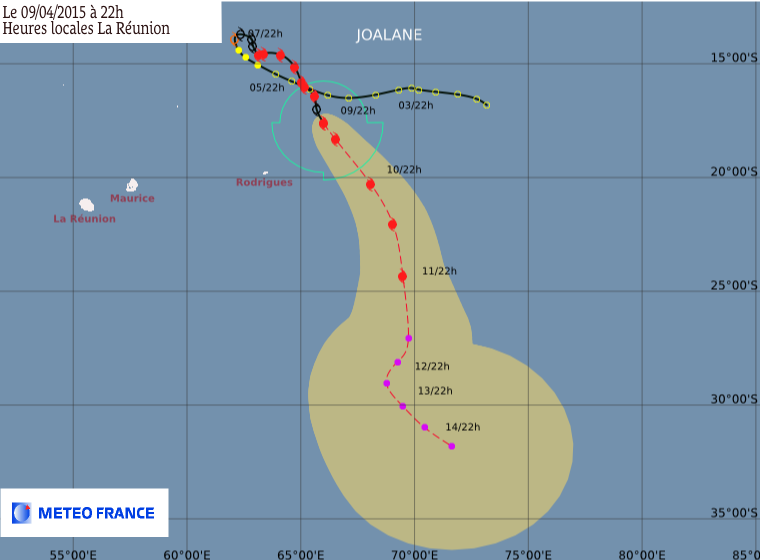 Trajectoire cyclone tropical Joalane