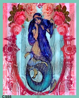 blue hair mermaid posing on kitsch rose background by vintagemermaidsfabricblocks.com