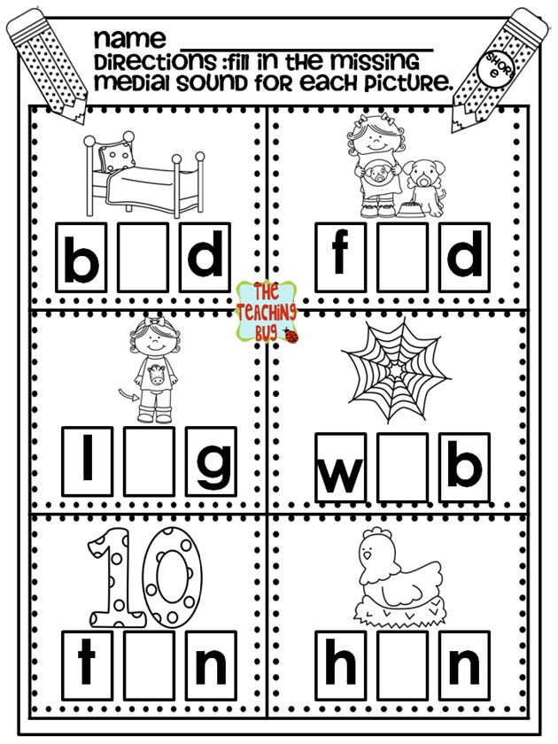 The Teaching Bug Medial SoundsPhonics Instruction – Middle Sounds Worksheets