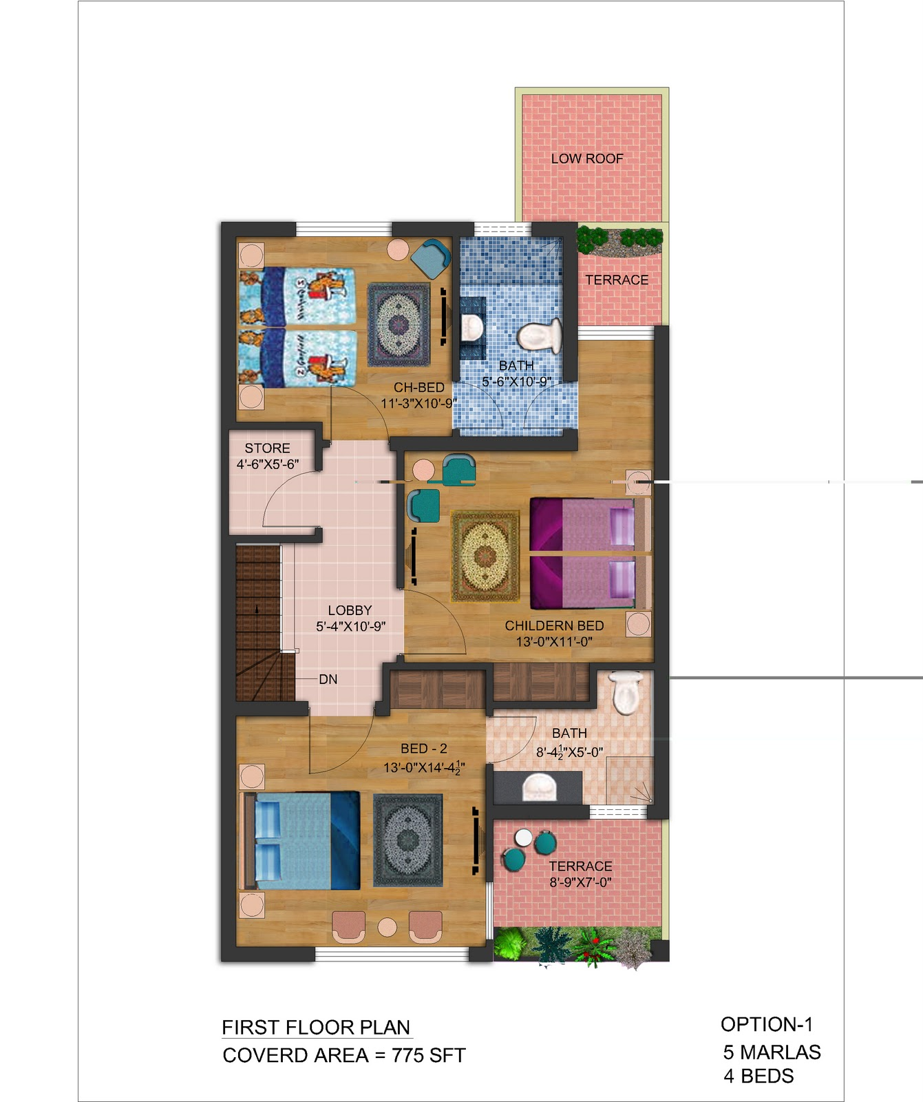 5 Marla House Floor Plan http://frontelevation.blogspot.com/2011/11/5-marla-front-elevation-plan.html