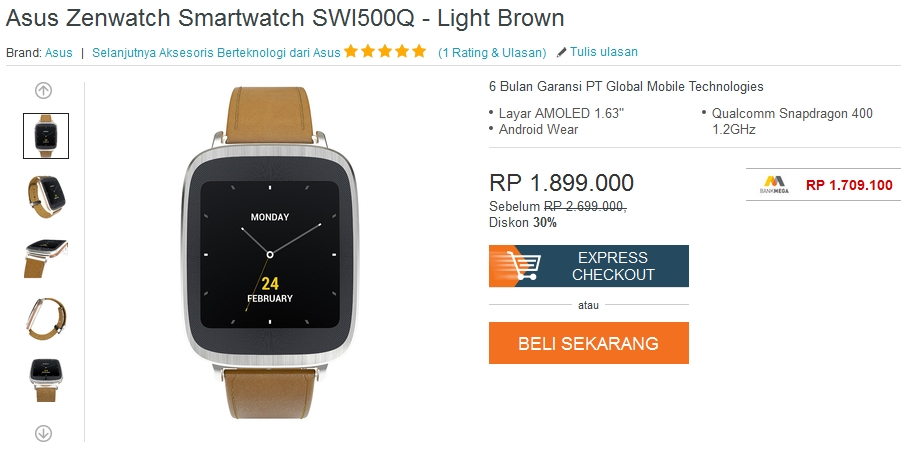 Harga ASUS ZenWatch September 2015