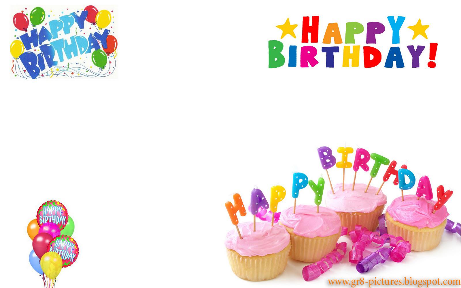 White birthday wallpaper, cake, balloons, letters