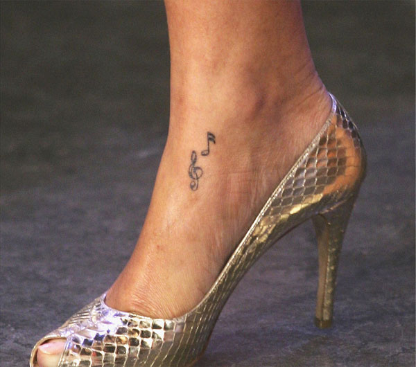Rihanna Music note Foot Tattoo