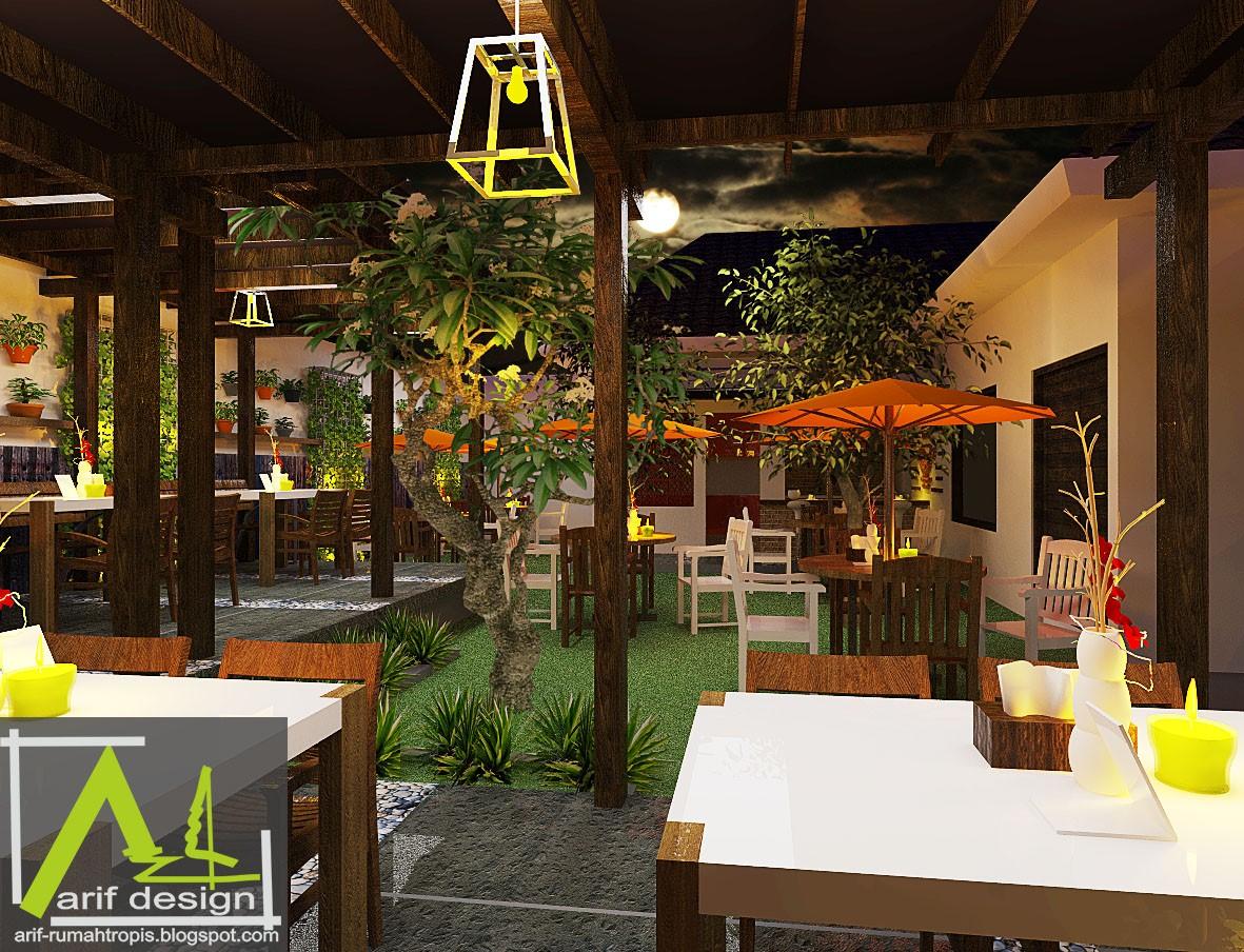 Desain Cafe Tropis Outdoor Garden Cafe Rumah Tropis