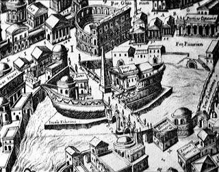 L'Isola Tiberina (particolare, Du Perac, 1574)