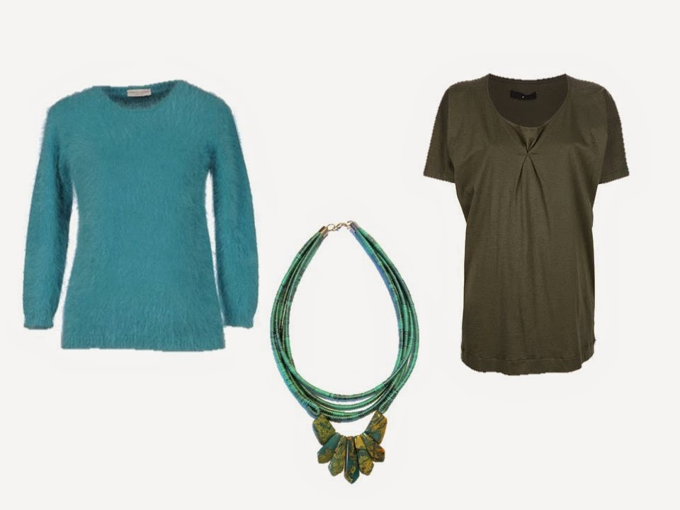 turquoise sweater, olive green blouse, and turquoise and olive jasper and pyrite necklace