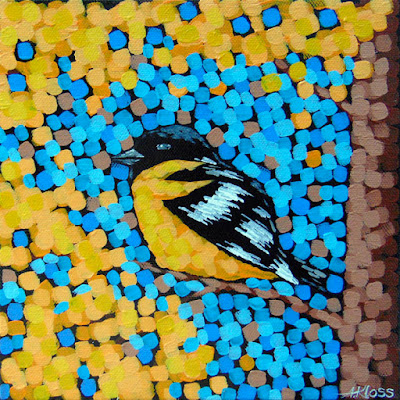 Baltimore oriole painting acrylic on canvas by artist aaron kloss at siiviis gallery in duluth