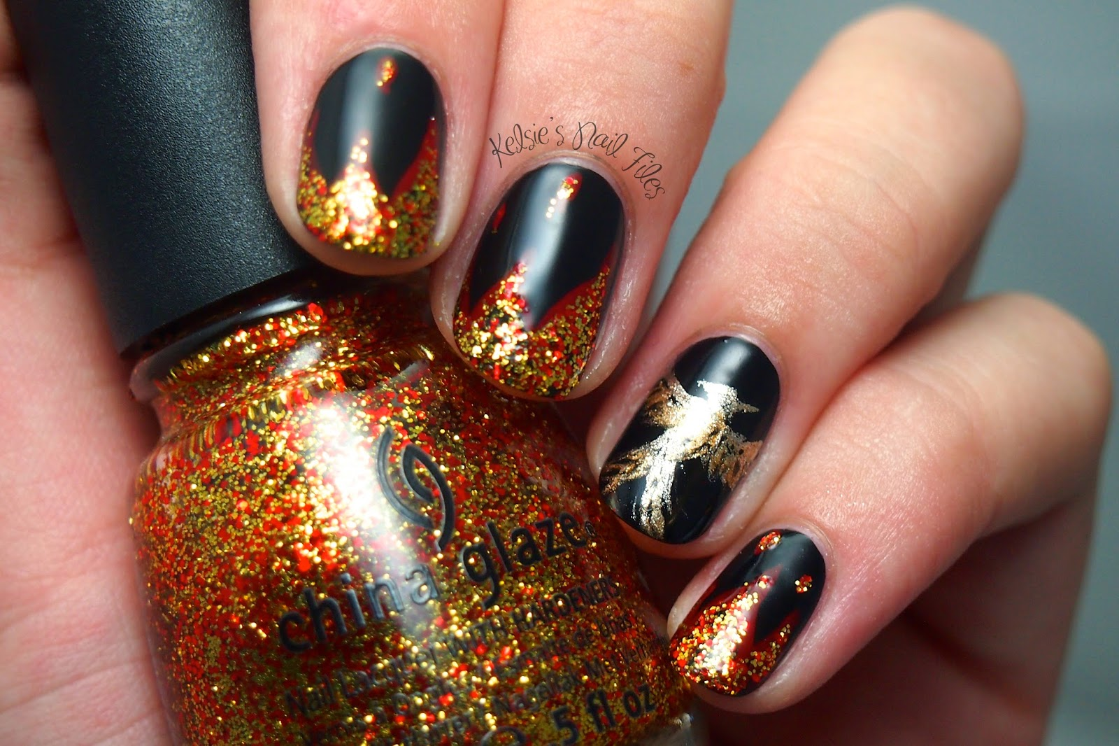 Kelsies nail files hunger games mockingjay part 1 mockingjay is a variety of golds in my collection created using a thin nail art brush flames are china glaze adventure red y and electrify prinsesfo Image collections
