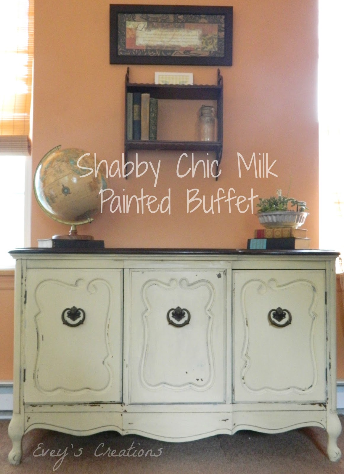 evey 39 s creations shabby chic storage milk painted vintage buffet the fab furniture flippin. Black Bedroom Furniture Sets. Home Design Ideas