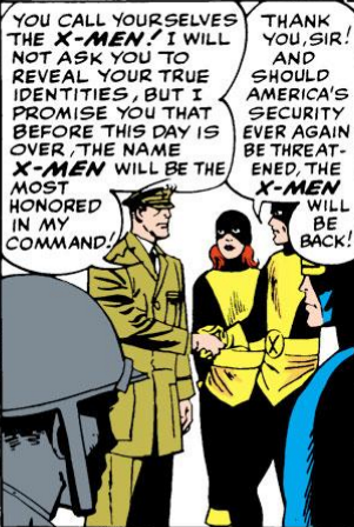 A panel of a white man in American military dress shaking Angel's hand while Jean Grey and Cyclops look on. The man says, 'You call yourselves the X-Men. I will not ask you to reveal your true identities, but I promise you that before this day is over, the name X-Men will be the most honoured in my command!' Angel replies, 'Thank you, sir! And should America's security every again be threatened, the X-Men will be back!'