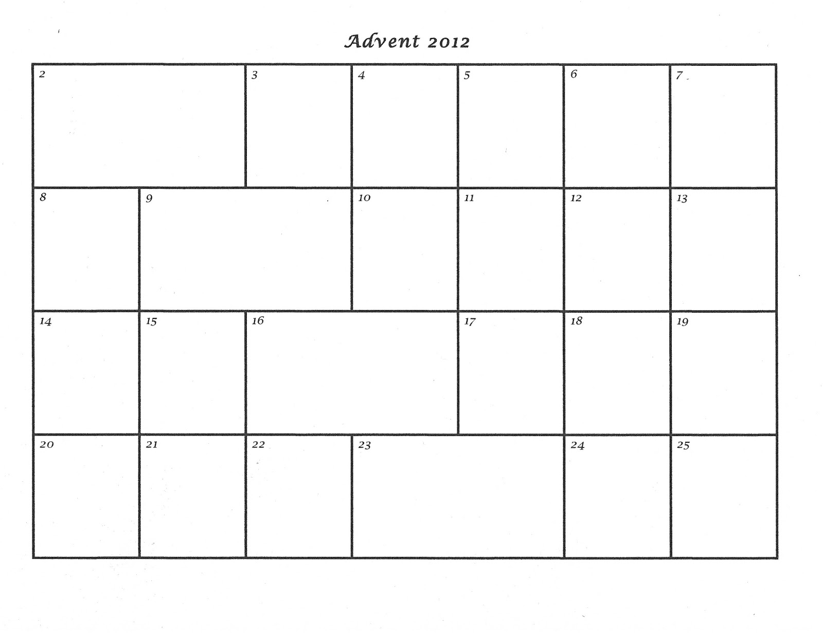 Mostly Markers Advent Calendar Template 2012