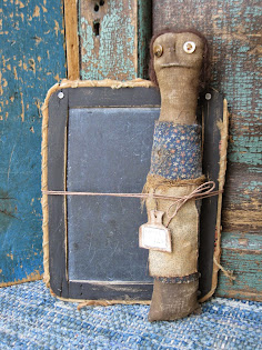 prim old slate and schoolmarm doll $38