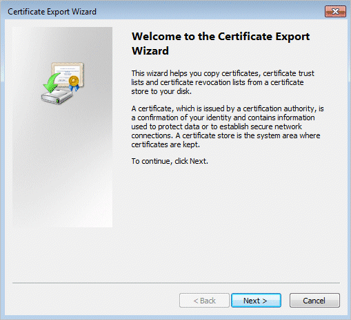Encrypting File System Certificate Export Wizard