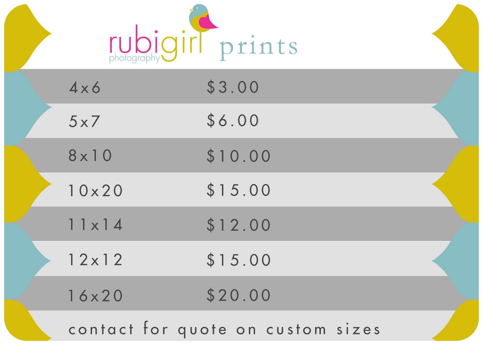 rubigirl photography print price list. Black Bedroom Furniture Sets. Home Design Ideas