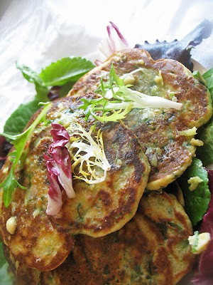 lime butter with spinach pancakes