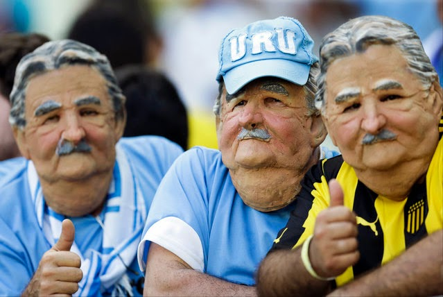 Masked fans from Uruguay