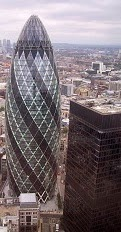 St. Mary Axe, Swiss Re Building / The Gherkin, London, Baron (Norman) Foster of Thames Bank, 2003.