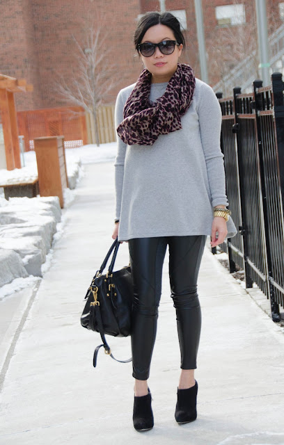 Demy Lee, Gap, Aritzia, Prada, leather pants, oversized sweater, cashmere sweater, leopard print scarf, suede booties