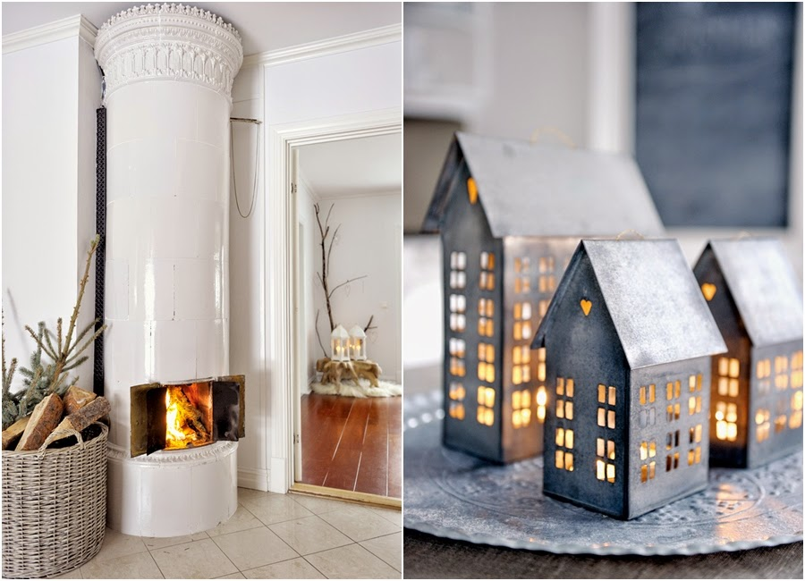 wystrój wnętrz, home decor, wnętrza, urządzanie mieszkania, scandi, nordic, styl skandynawski, święta, Boże Narodzenie, dekoracje świąteczne, piec kaflowy, lampion