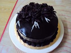 Choc moist cake with Roses (Choc Ganache)