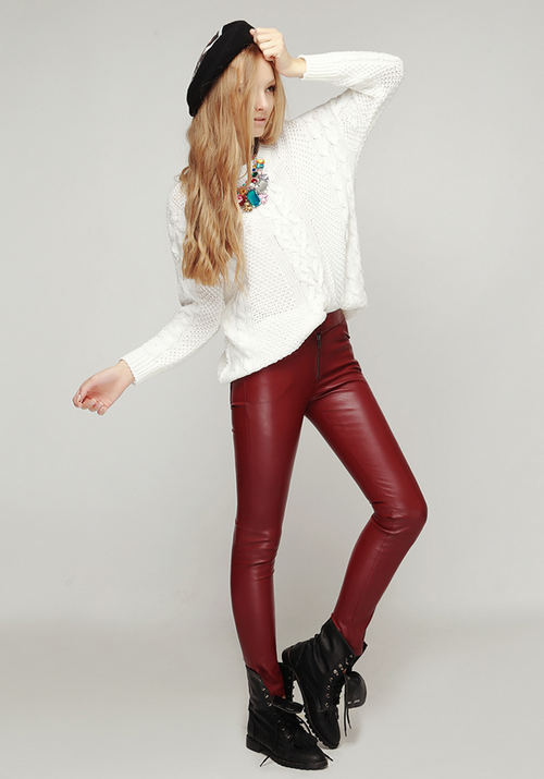 Zipper Accent Faux Leather Pants