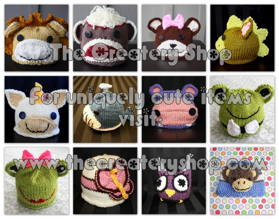 The Createry Shop Knitted Baby Animal Hat Finished Item Made To