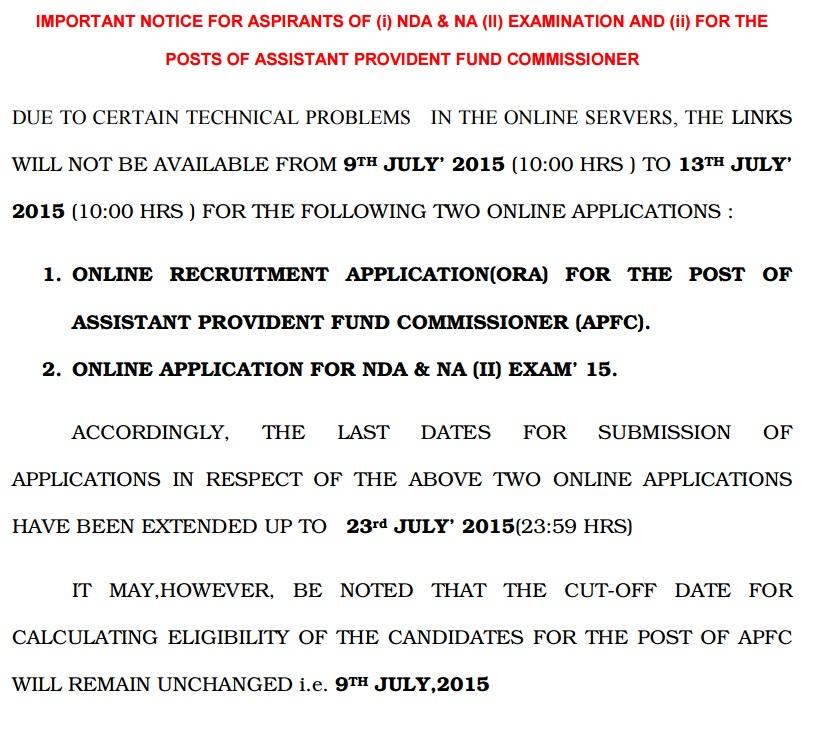 UPSC Notification for NDA & APFC Exam 2015