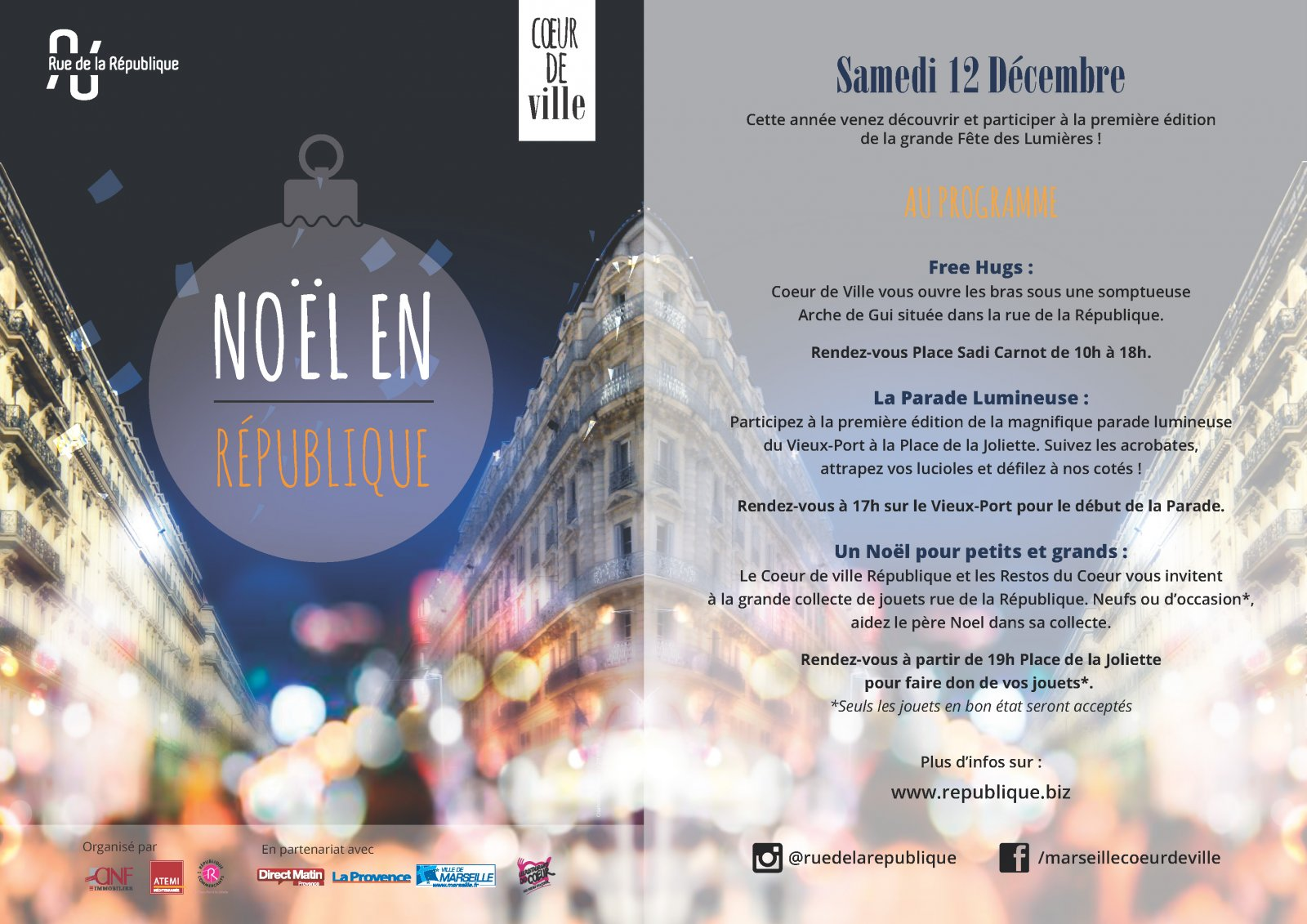 Programme de la grande fête des lumières à Marseille, du vieux-port à la joliette, spectacle et déambulation en musique