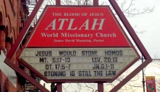 ATLAH sign: Jesus would stone homos.