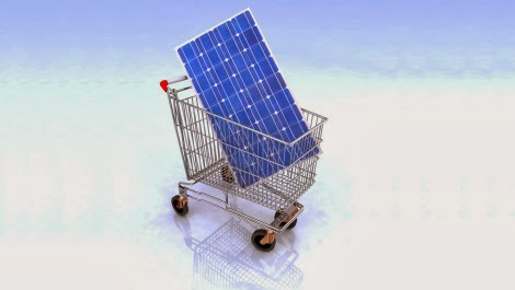 Solar panel in shopping cart (Credit: Shutterstock) Click to enlarge.