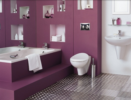 Baño De Tina Con Ruda:Purple Small Bathroom Design