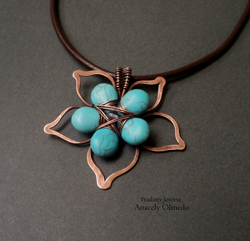 Wire work copper and turquoise flower pendant tutorial for Hammered copper jewelry tutorial