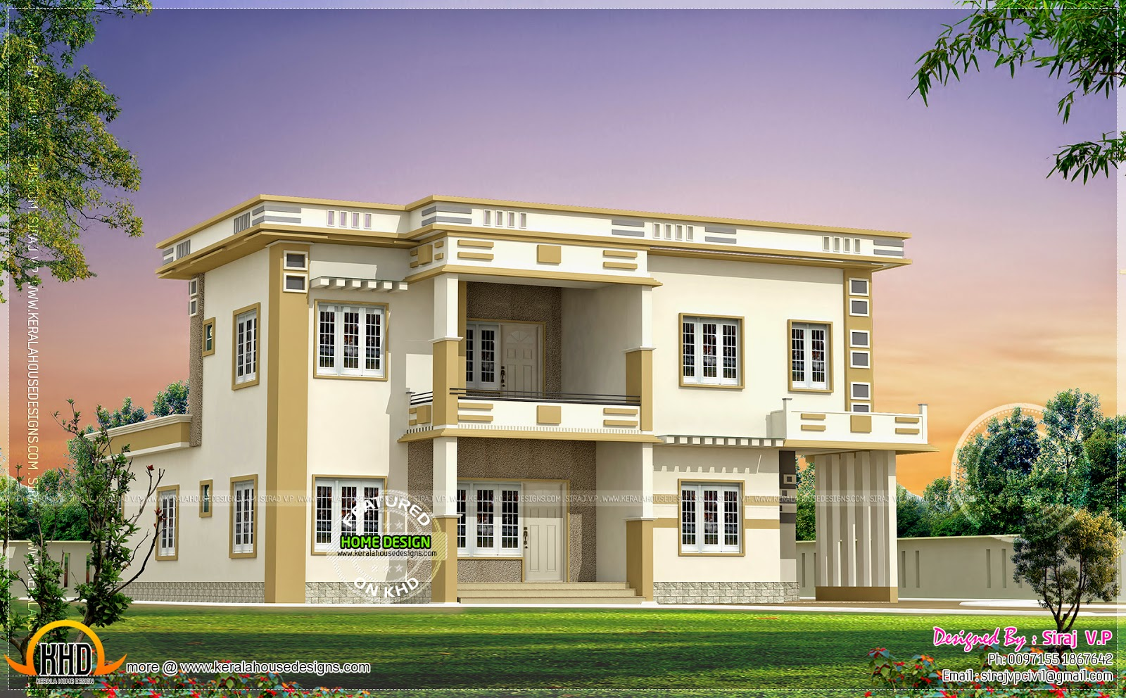 Contemporary villa in different color combinations kerala home design and floor plans - Colorful house plans ...