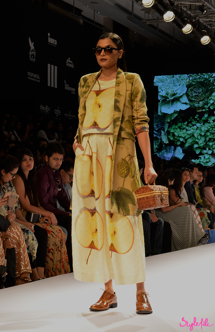 Aartivijay Gupta showcase her latest winter festive collection with a quirky fruit and vegetable sabzi mandi inspired prints and layers at Lakme Fashion Week held at St. Regis, Mumbai