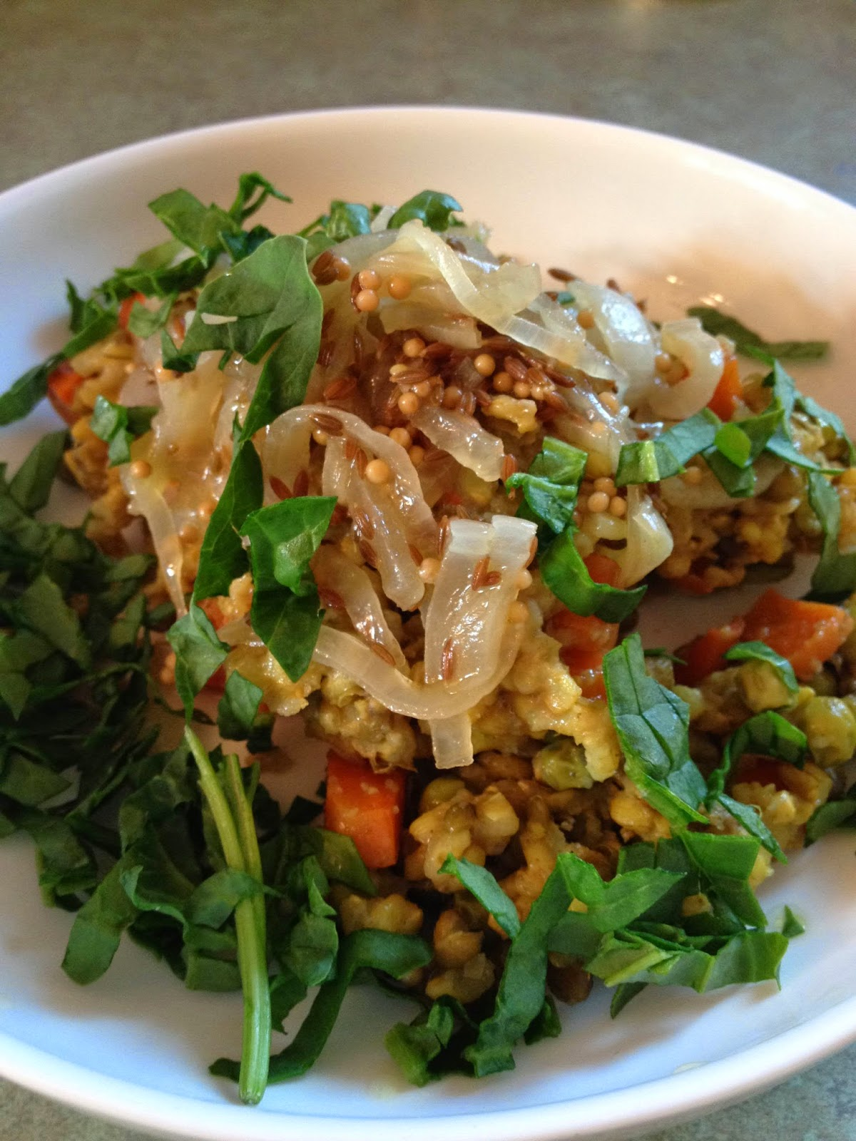 Mung Beans And Rice With Indian Spices And Caramelized Onions (In The Slow Cooker!)