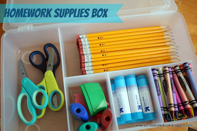 Organized homework supplies