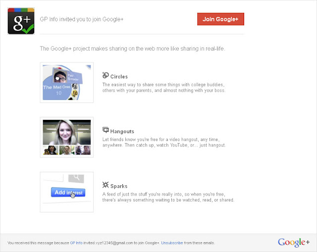 Google+ Invite Message