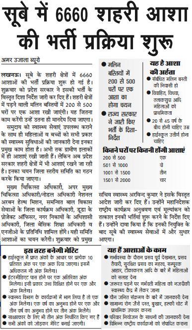 UP 6660 Shahri Asha Bharti 2016 news