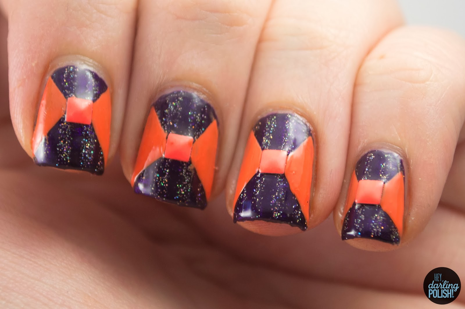 nails, nail art, nail polish, polish, orange, purple, fairy dust, nail art a go go, hey darling polish, studs, stripes,