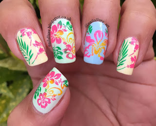 MoYou London Tropical 02 stamping on Color Club Poptastic Pastel Neons