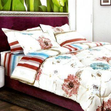Solace Set Bed Cover + Sprei Maura - Putih/Merah