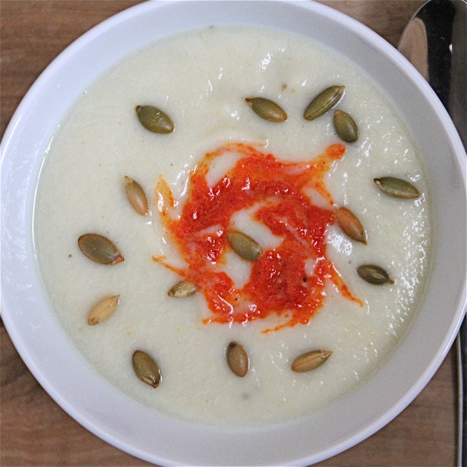Creamless Cream of Cauliflower Soup with a splash of Roasted Red Pepper Sauce