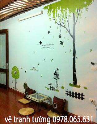 vẽ tranh tường,vẽ tranh tường quán trà sữa